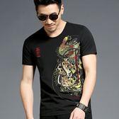 男短袖T恤韓版上衣 孔雀男士短袖T恤中國風男裝印花個性圓領衣服《印象精品》t3445
