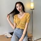 T恤女裝2020新款潮夏季復古性感V領修身顯瘦短袖針織上衣ins洋氣 米娜小鋪