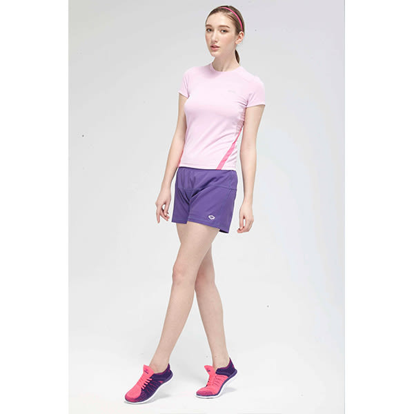 TOP GIRL 簡約線條剪接圓領吸排T恤-粉