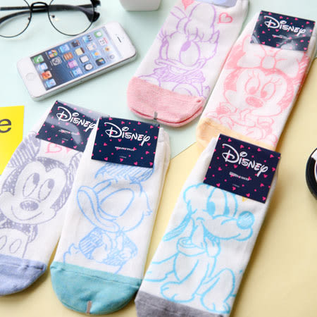 韓國 迪士尼系列線稿圖案短襪 襪子 造型襪 流行襪 迪士尼 米奇 米妮 唐老鴨 黛西 布魯托