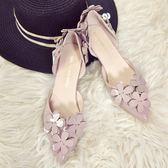 百搭甜美高跟鞋女 中空花朵尖頭單鞋細跟3cm低跟鞋   薔薇時尚