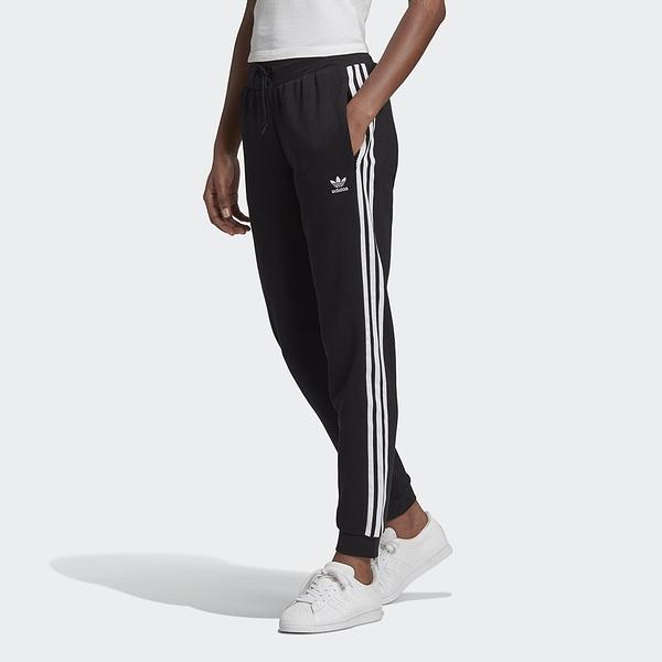 【現貨】ADIDAS SLIM CUFFED 女裝 長褲 慢跑 縮口 拉鍊口袋 棉質 黑【運動世界】GD2255