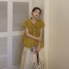 娃娃衫 夏季2020新款系帶蝴蝶結兩穿短袖襯衫女設計感小眾娃娃衫心機上衣 曼慕衣櫃