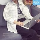 【V9282】shiny藍格子-秋心手札.翻領格紋長袖襯衫