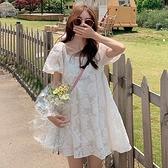 漂亮小媽咪 韓系 方領 娃娃裙【D3235】 高質感 泡泡袖 蕾絲 公主裙 清新 連衣裙 蕾絲裙 蕾絲洋裝