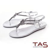 TAS水鑽細帶夾腳涼鞋-閃耀銀