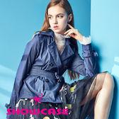 【SHOWCASE】英式雙排合細條紋彈性綁帶外套(藍)