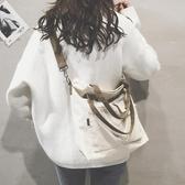 托特包女新款日韓文藝布袋包ulzzang帆布肩背包大包寬帶斜背包包