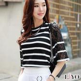 針織鏤空蕾絲條紋顯瘦寬袖圓領質感上衣LIYO理優E817005