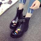 短筒時尚雨鞋女士工作高中筒防水防滑可愛膠鞋水鞋子女式雨靴外穿 color shop