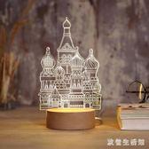 3D立體燈 小夜燈插電創意夢幻迷你臺燈臥室床頭簡約現代麋鹿水母城堡 LC3480 【歐爸生活館】