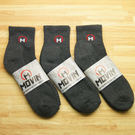 MOVIN 運動彈力厚底休閒短襪-3雙組--灰色-單色--502A
