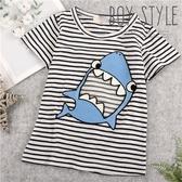 可愛大嘴鯊魚條紋短袖上衣(290038)【水娃娃時尚童裝】