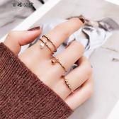 混搭珍珠小圓球鍍玫瑰金食指環戒指