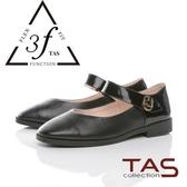 TAS 金屬扣飾一字繫帶異 拼接娃娃鞋 黑
