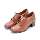 MICHELLE PARK 英倫小曲 雕花條紋高跟牛津鞋-橘棕