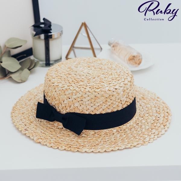 帽子 撞色蝴蝶結編織草帽-Ruby s 露比午茶