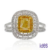 ides愛蒂思 GIA黃彩鑽/方形/Fancy Light Yellow/1.01ct / VS1戒指(限1件)