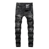 新品特惠# 外貿跨境男歐美男式牛仔褲深藍小腳修身破洞潑墨男士牛仔褲