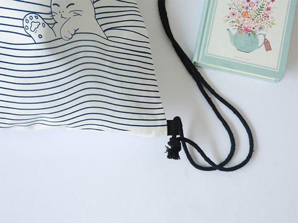 質感純棉 手繪風 藍帶小貓 後背包 束口袋 帆布袋 帆布包/後背/棉繩束口