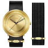 【台南 時代鐘錶 ODM】SOLAR 太陽系列 俐落放射線條時尚腕錶 DD170-03 快拆錶帶 金 44mm