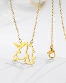 法國設計18K鍍金鏤空獨角獸鈦鋼項鍊ins風少女風別致項鍊鎖骨鍊
