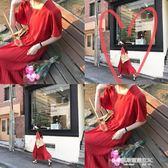 自制韓版新款高腰顯瘦棉麻復古方領中長款紅色寬鬆連身裙女夏  凱斯盾數位3C