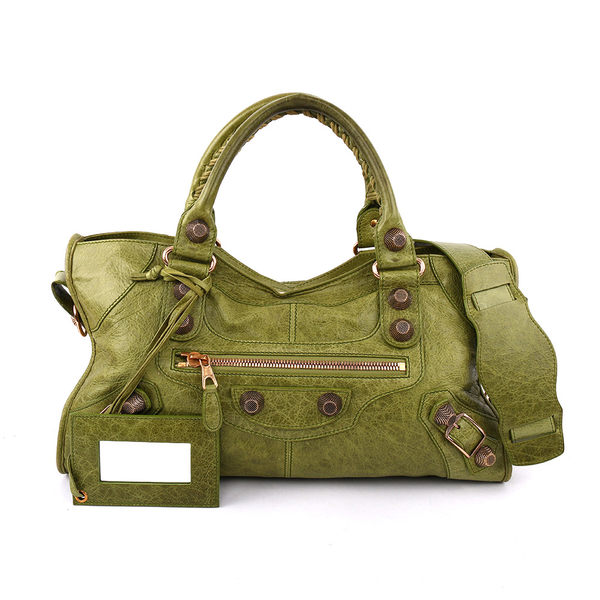 【BALENCIAGA】玫瑰金大釦PART TIME手提肩背包(橄欖綠) BA11000030