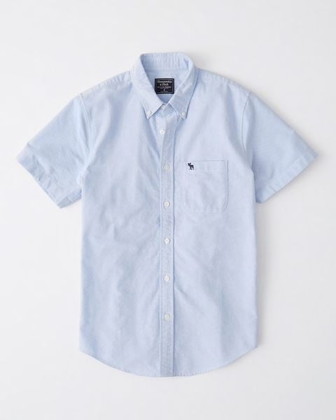 【BJ.GO】 Abercrombie & Fitch SHORT-SLEEVE ICON OXFORD SHIRT美國麋鹿純棉牛津襯衫