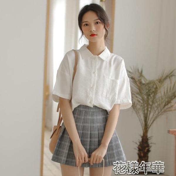短袖襯衫 減齡可愛軟妹雪紡小襯衫女文藝復古短袖襯衣新款甜美上衣白色 2021新款