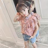 短袖襯衫女童襯衫短袖2018夏季新品正韓兒童洋氣雪紡上衣中大童時尚襯衣