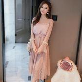 蕾絲網紗連身裙秋女裝正韓中長款水貂毛長袖裙子洋裝-BB奇趣屋
