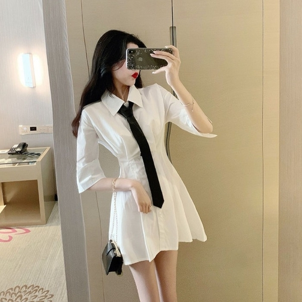 襯衫洋裝 連衣裙設計感小眾夏季新款韓版氣質收腰顯瘦白色襯衫裙子女 - 風尚3C