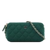 【CHANEL】淡金釦織布雙拉鍊拼色鍊包(綠色/藍色) CP0248 Y60389 N4856