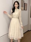秋裝新款很仙的長袖蕾絲洋裝女網紅甜美egg裙法式過膝長裙 伊衫風尚