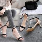 涼鞋2019新款女夏季高跟貓跟中跟一字帶黑色細跟韓版百搭學生鞋子 aj16923【美鞋公社】