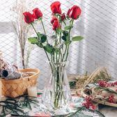 簡約鑚石幾何束頸玻璃花瓶透明花瓶擺件