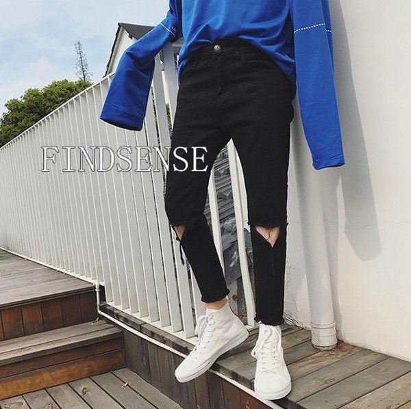 韓國 高品質 三角破壞牛仔 窄管 九分 破壞牛仔 絕對不是塑膠褲 爛貨! 破褲 爛的 499 都不賣!