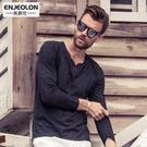 春季新品 男士長袖T恤 個性V領紐扣裝飾歐美簡約打底衫彩棉 免運