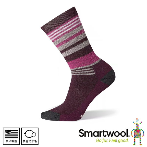 【SmartWool 美國 女中級減震型徒步條紋中長襪《酒紅》】SW001018/排汗襪/保暖襪/中長襪/運動襪