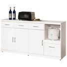【森可家居】祖迪白色5.3尺碗碟櫃下座 7ZX821-4 餐櫃 收納廚房櫃 中島 北歐風