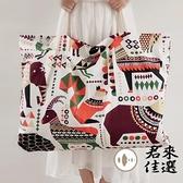 裝衣服袋子手提包純棉印花帆布整理收納包手提包幼稚園棉被收納袋【君來佳選】