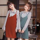 東京著衣-知性女孩條紋綁帶套裝-S.M(172760)