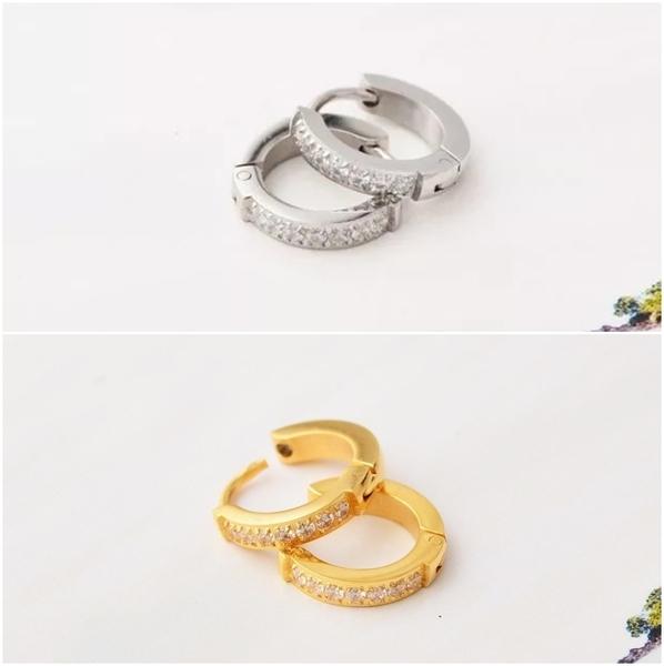 316L醫療鋼 單排鑽圓鑽 天然白水晶 耳環耳圈扣-金、銀、玫瑰金 防抗過敏 單支販售