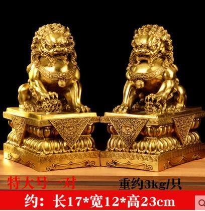 風水閣開光純銅獅子擺件一對北京獅銅獅子擺件獅助運家居風水擺件