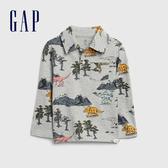Gap男幼童 童趣風格印花長袖POLO衫 617813-恐龍印花