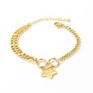 【5折超值價】時尚精美星星雙鍊造型手鏈女款鈦鋼手鏈