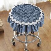 幕知冬季加厚布藝小圓凳子套罩歐式圓形單人圓凳子轉椅坐墊圓墊 創意空間