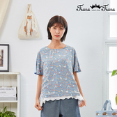 【Tiara Tiara】百貨同步新品aw  後蝴蝶結印花圓領上衣(白/水藍)
