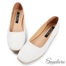 娃娃鞋 優雅方頭縫線皮革平底鞋-白